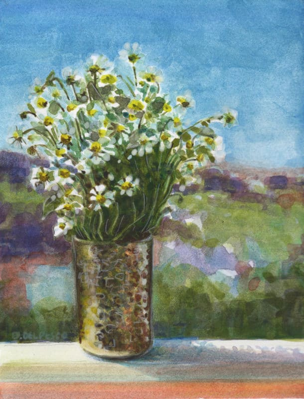 a watercolor painting of tiny daisies in a brass vase in the sunshine