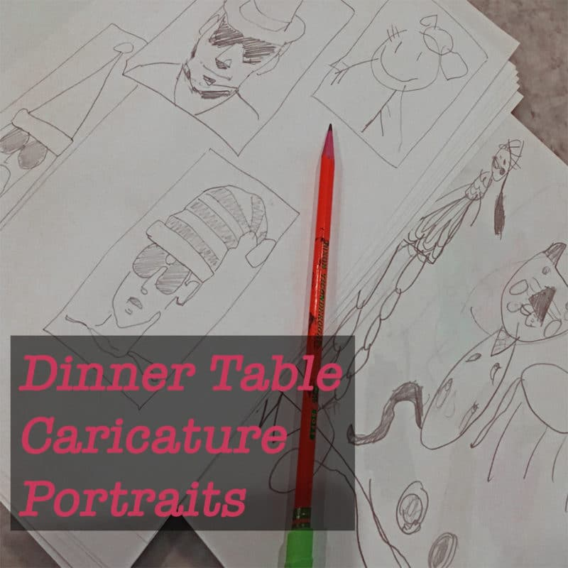 Silly caricatures drawn in pencil on paper, showing faces in santa hats and sunglasses, cat in christmas hats , from dinner table caricature portraits
