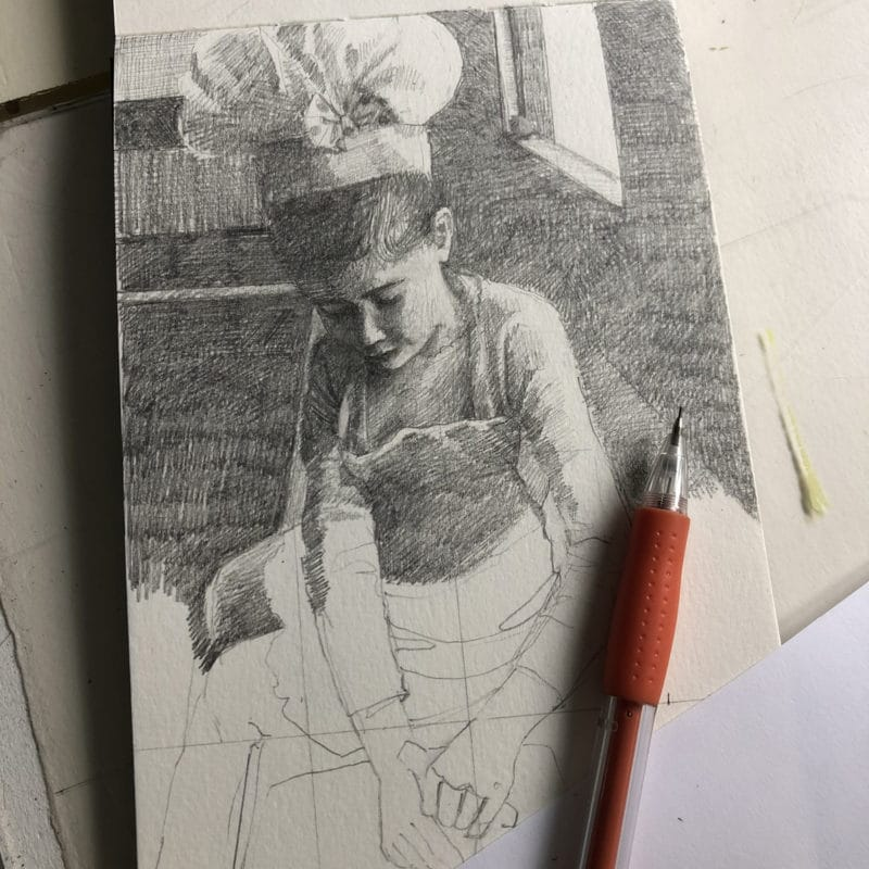 Using the grid method to draw a pencil sketch of a little girl baking in the kitchen