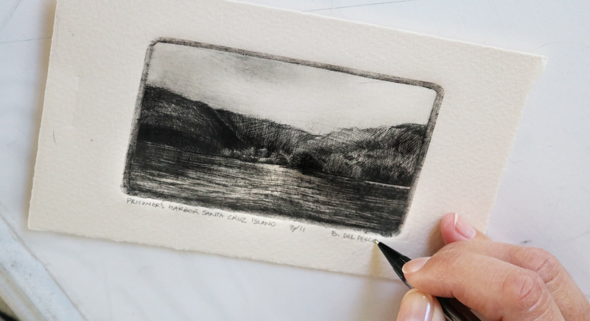 How to sign a drypoint etching edition