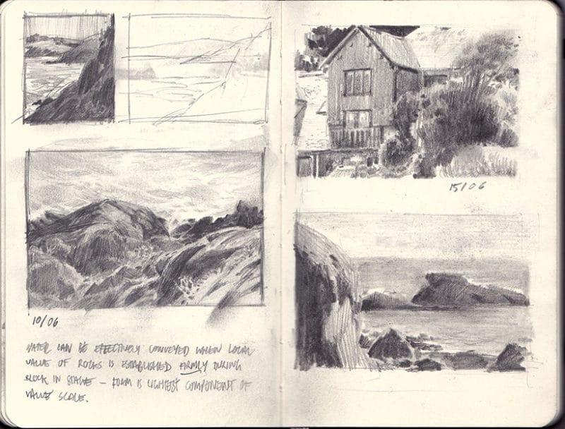 a sketchbook spread of landscape studies by Edgar Payne