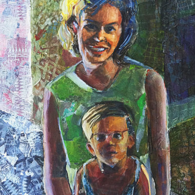 collage portrait made from torn paper and paint of a mother and child