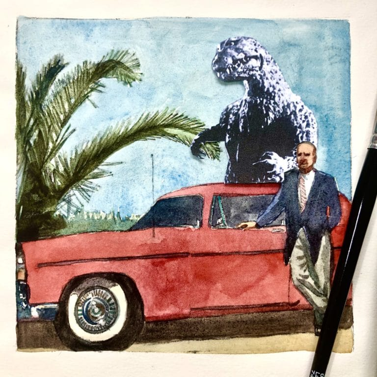 Drypoint engraving of a man with a Chrysler 300 and Godzilla