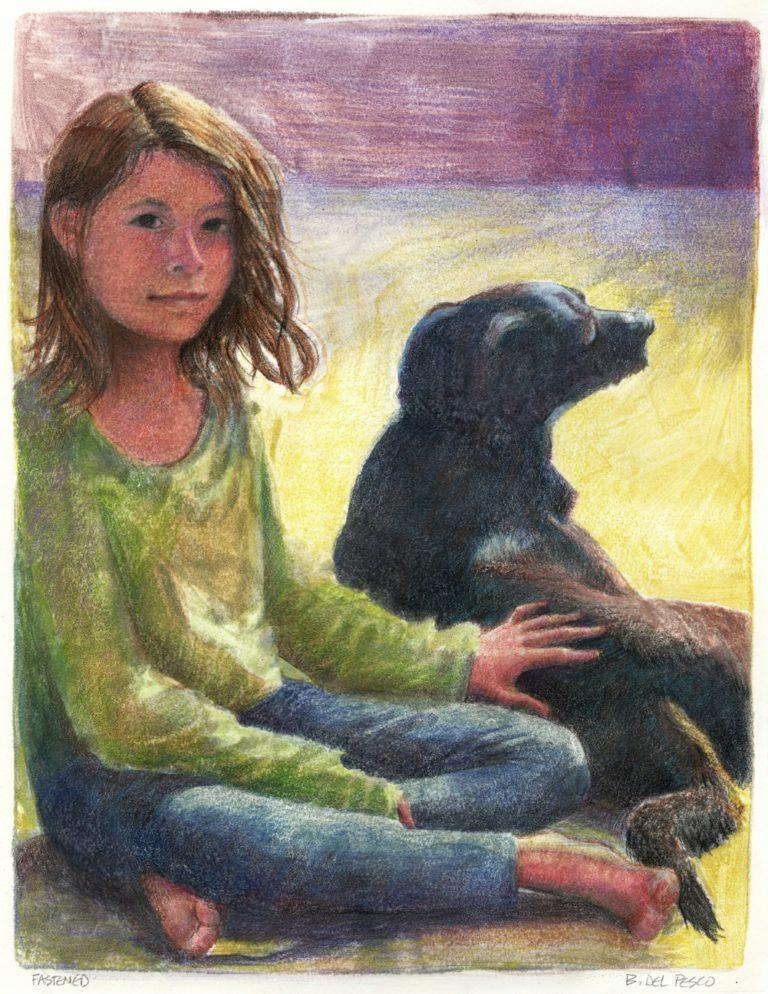 color monotype pf a girl and her dog