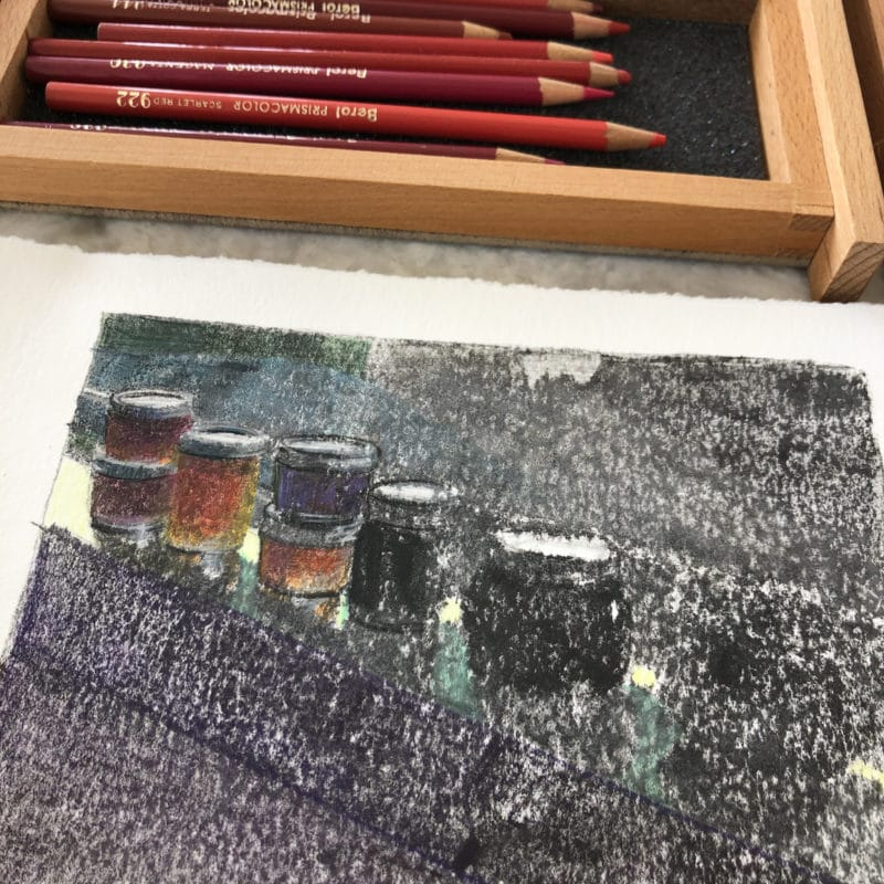 Blurred ink in a monotype print starting to show recognizable shapes of jam jars on a sill with the help of some colored pencil