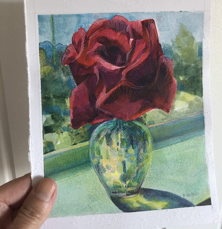 A watercolor with Colored Pencil illustration of a bud vase on a sunny sill with a red rose in it