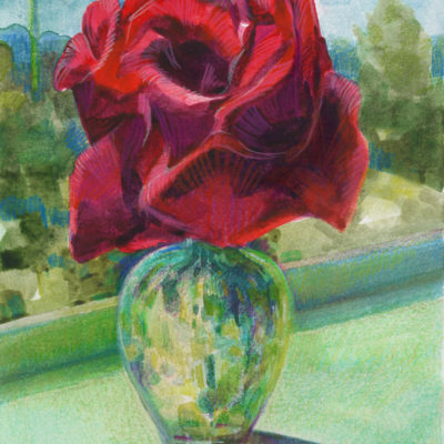 floral watercolor still life of a rose