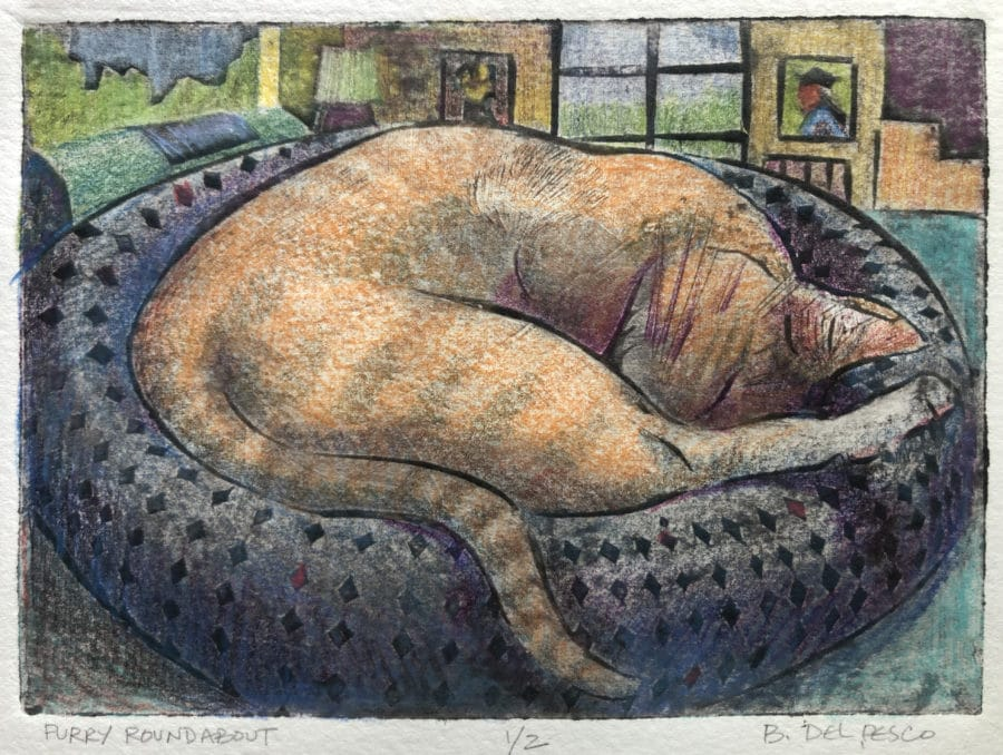 a collagraph print of a cat curled up in bed, sleeping