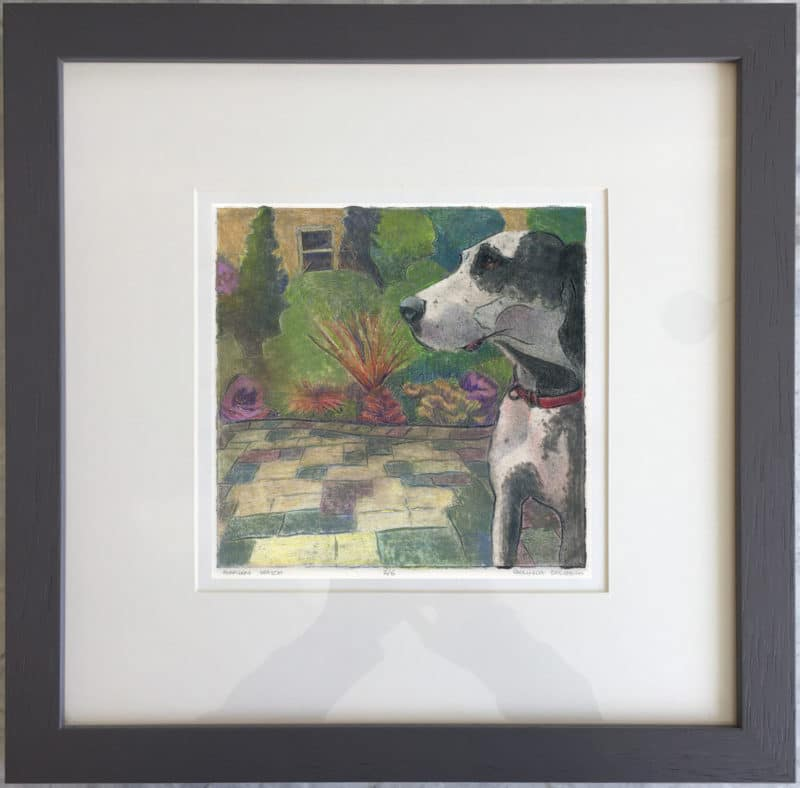 a collagraph print of a great dane in a garden,