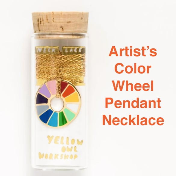 a perfect gift for an artist - a color wheel pendant necklace