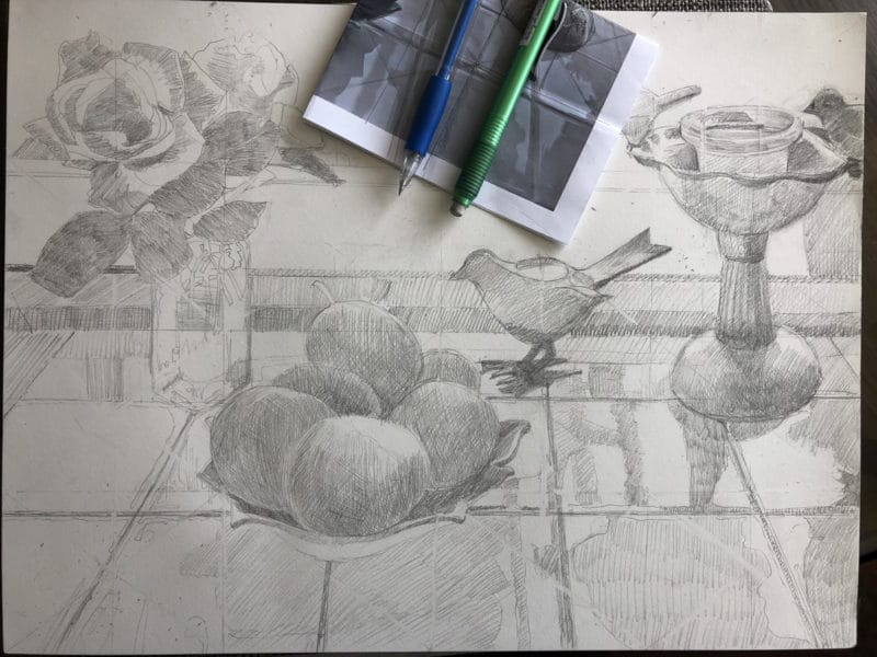drawing a still life for a watercolor painting using the grid method