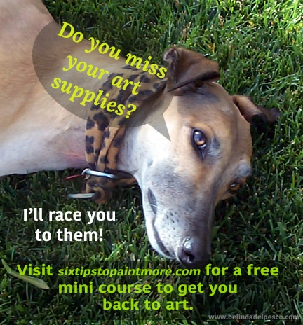 how to paint more often - speech bubble coming from a greyhound laying in the grass