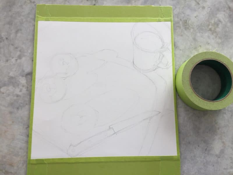 a sheet of watercolor paper with a light still life sketch is taped to a board, ready for watercolor painting