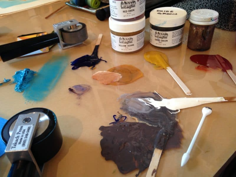 printmaking ink on a table