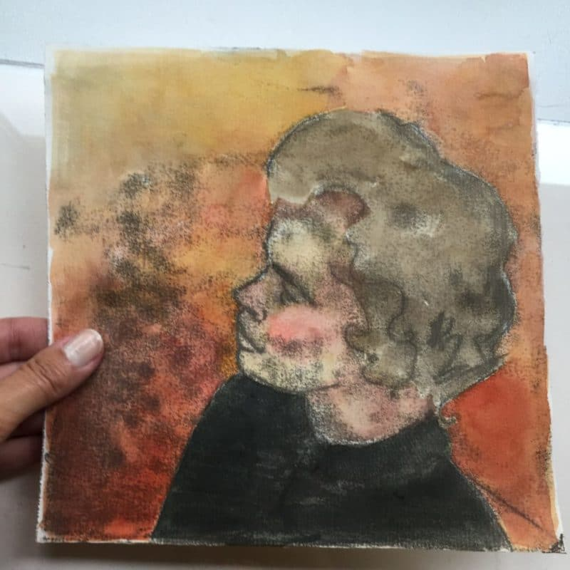 The same sketchy black ink trace monotype (or transfer drawing) as above, but with a red, orange and yellow wash background added in watercolor