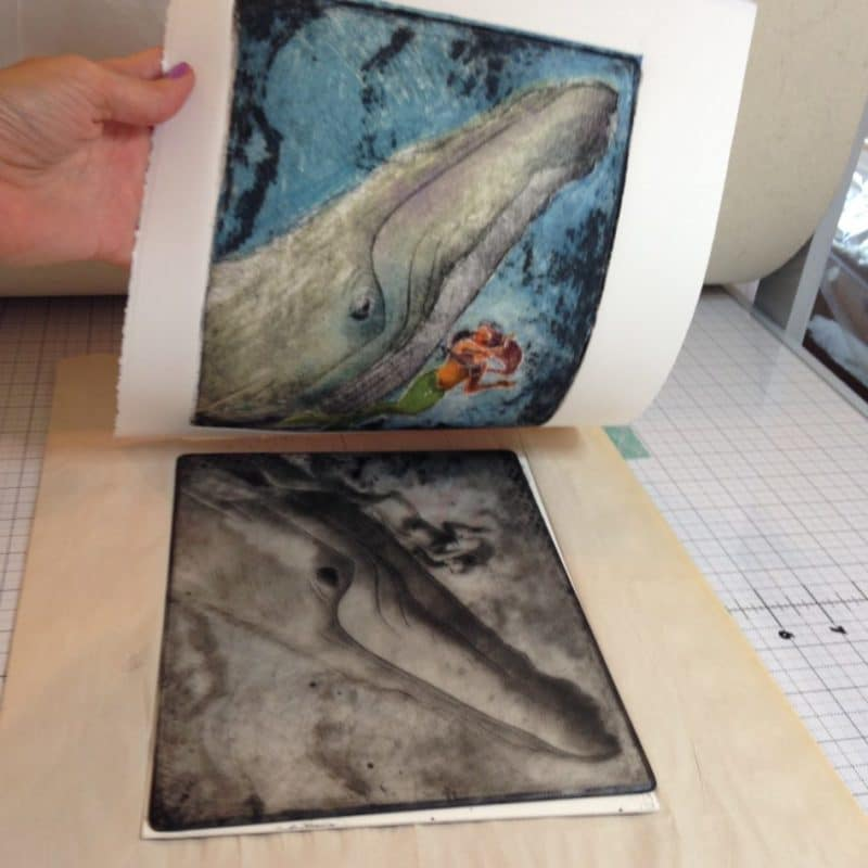Pulling a print of a whale swimming with a mermaid on an etching press