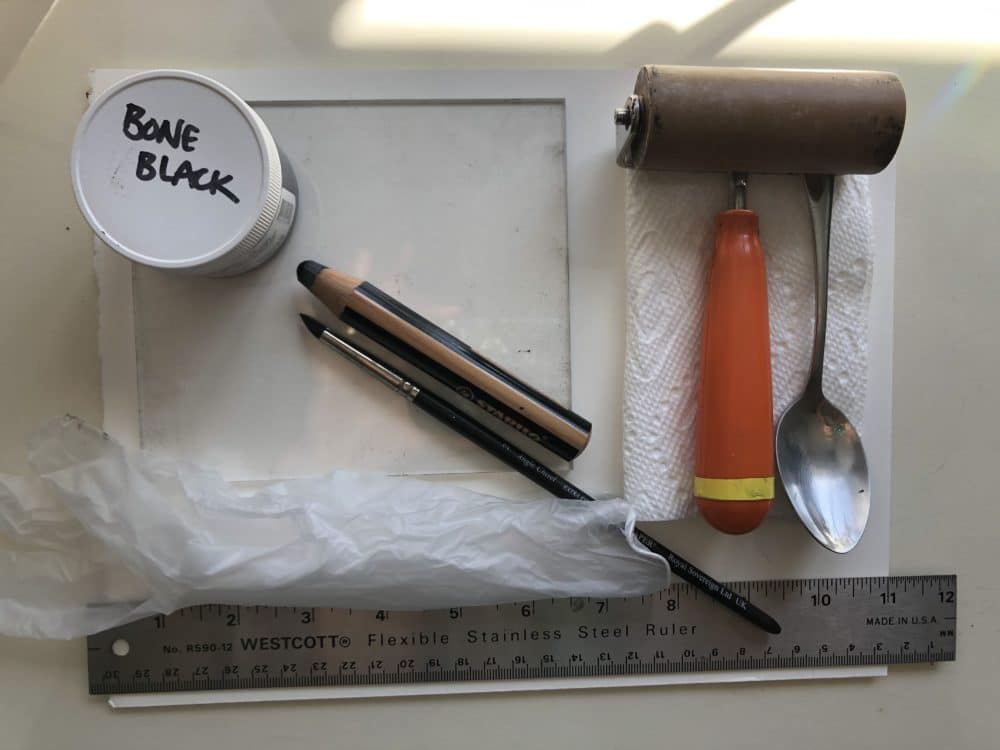 Basic supplies to make a monotype print without a press