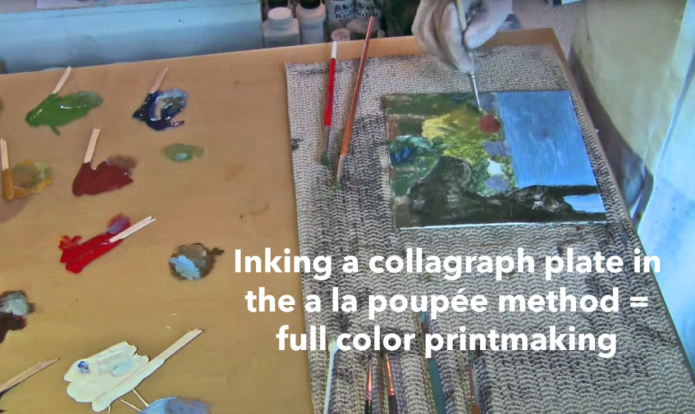 Full color printmaking from a mat board collagraph plate with the a la poupee inking method