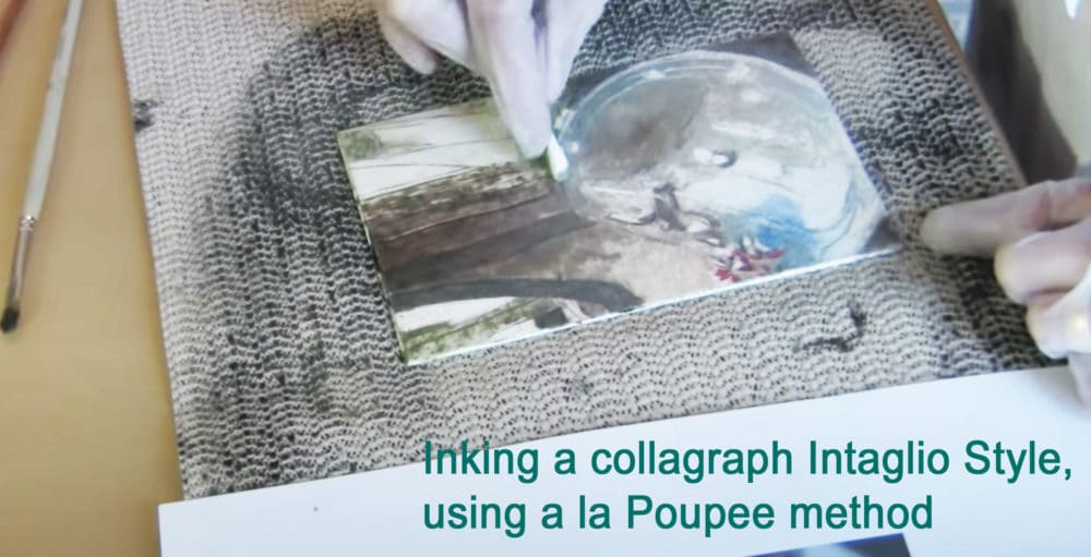 Wiping a collagraph plate intaglio style, using the a la poupee method  for a full color print
