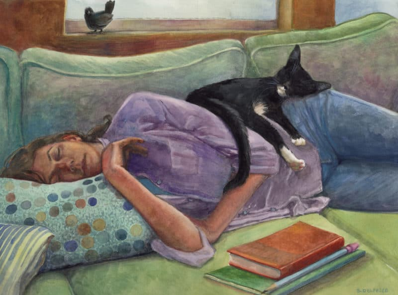 a watercolor of a woman napping on a couch with a cat sleeping on her hip
