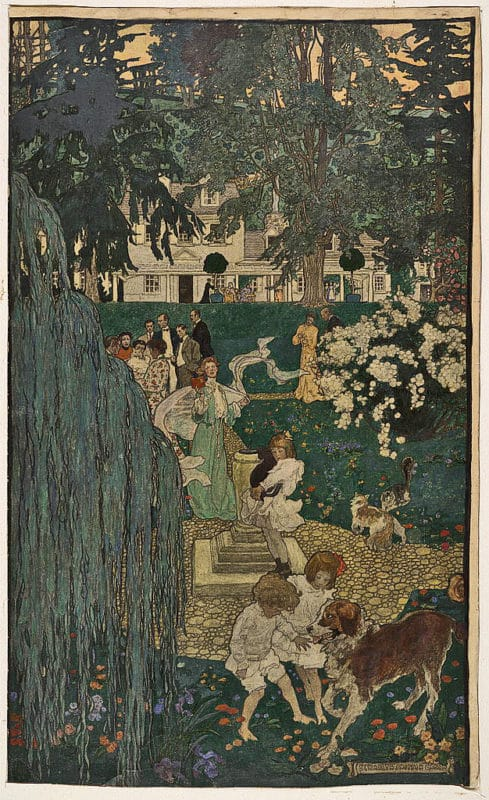 A charcoal and watercolor illustration of a garden party by Elizabeth Shippen Green