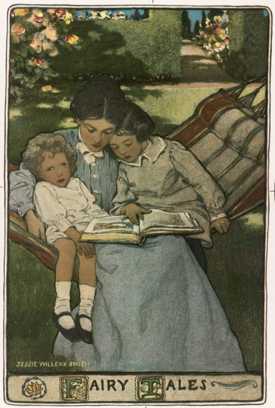 a young mother in a hammock with her two children, reading a book to them - an illustration by Jessie Willcox Smith