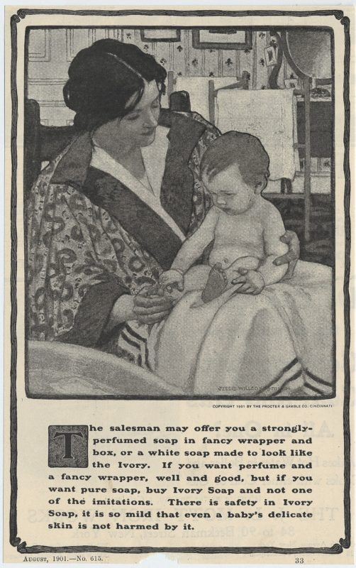 a charcoal illustration for ivory soap from an ad published in 1901 by Jessie Willcox Smith showing a young mother drying a baby on her lap