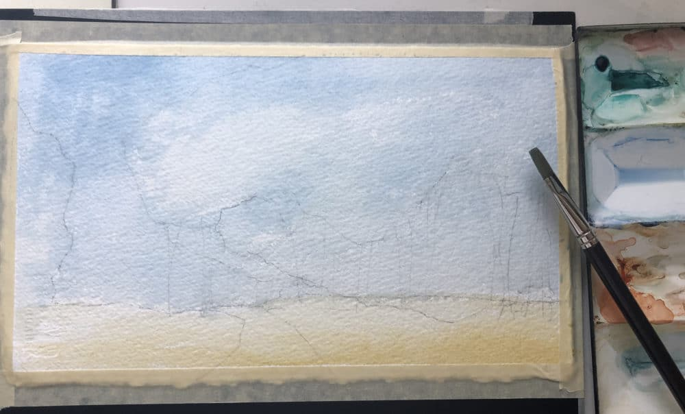 sky and landscape in watercolor with light pencil sketch outlines of trees