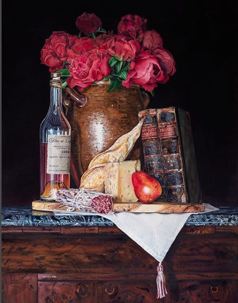 Matthew-Bird-Watercolor of books, roses, cheese, a pear and salami