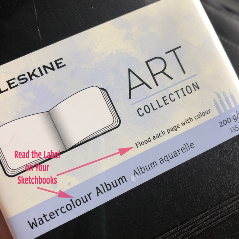 "The label on Moleskine Watercolor Notebooks says to ""flood each page"" with watercolour"