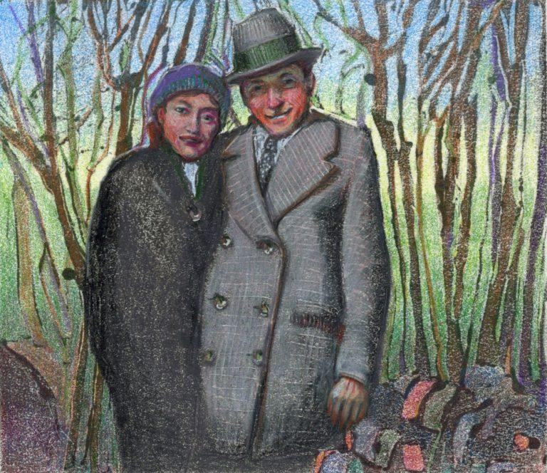 dark field monotype print of a couple from a vintage photograph