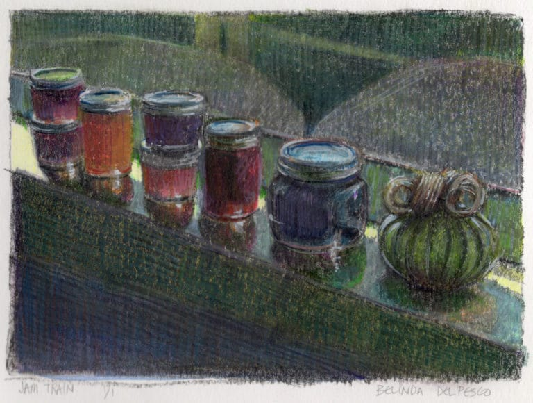 Monotype print of a still life showing a window sill with a row of preserve jars lined up like a train