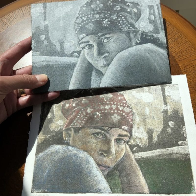 Silk Aquatint print of a woman in a bandana