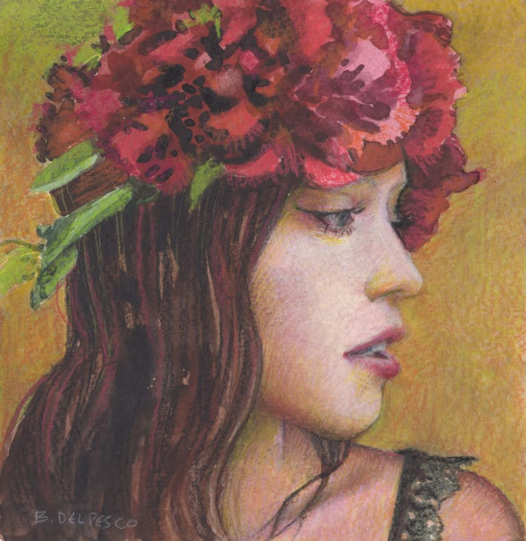 woman in profile with peony flowers in her hair