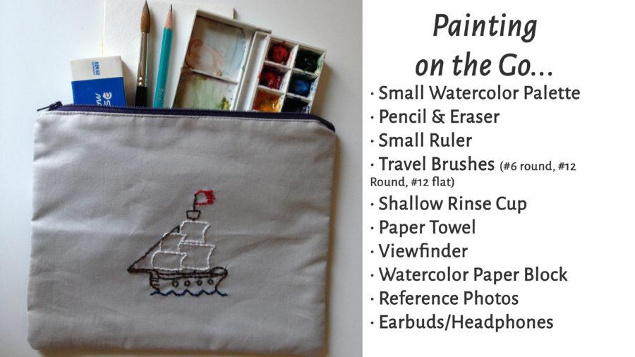 a zippered pouch with painting and watercolor supplies inside
