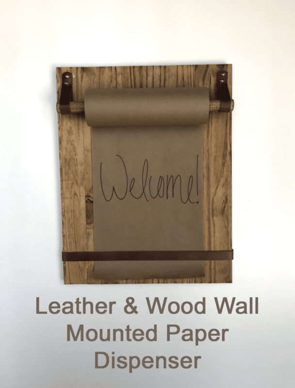 art studio wall mounted wood and leather paper dispenser