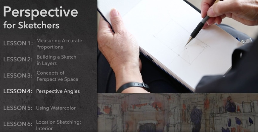 online video course for drawing perspective while sketching urban scenes, architecture and landscapes