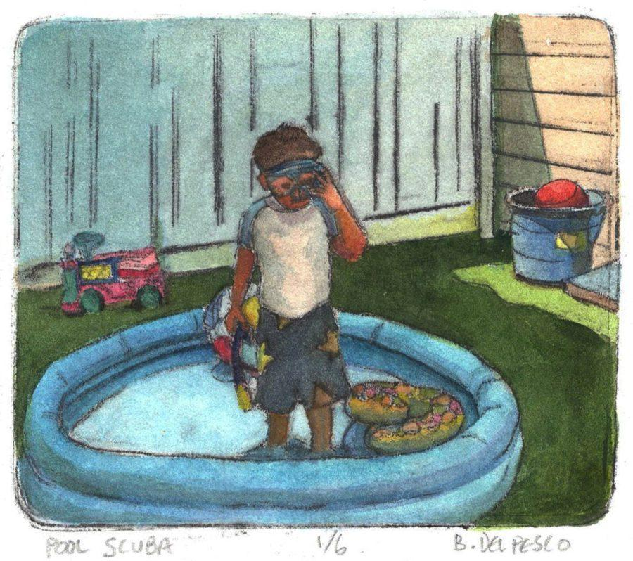 a drypoint etching print painted with watercolors of a little boy standing in an inflated pool with a snorkel and mask