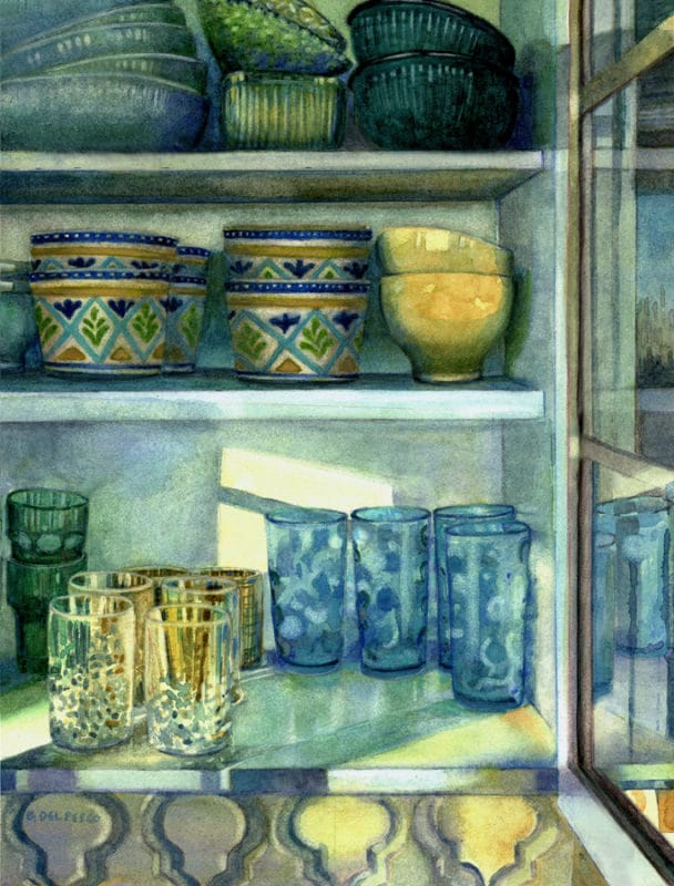 a still life watercolor of a kitchen cabinet in the sun featuring glasses, bowls and goblets