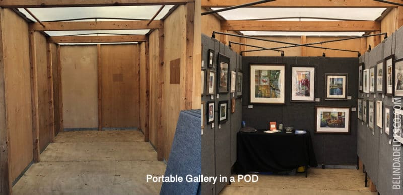 A storage POD shown empty, and then transformed into an art gallery