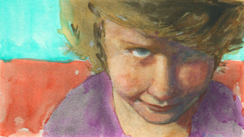 portrait of a little kid, head down, staring out from under her eyebrows with determination, in watercolor in a Moleskine notebook