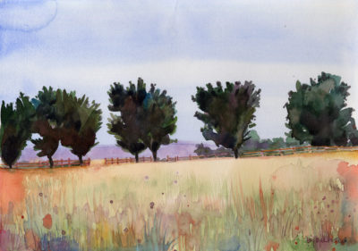 a watercolor painting of a landscape showing a property line of trees