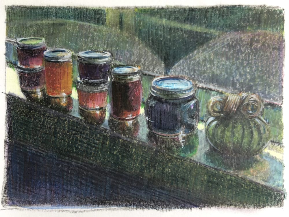 a dark field monotype of fruit preserves in jars lined up along a window sill