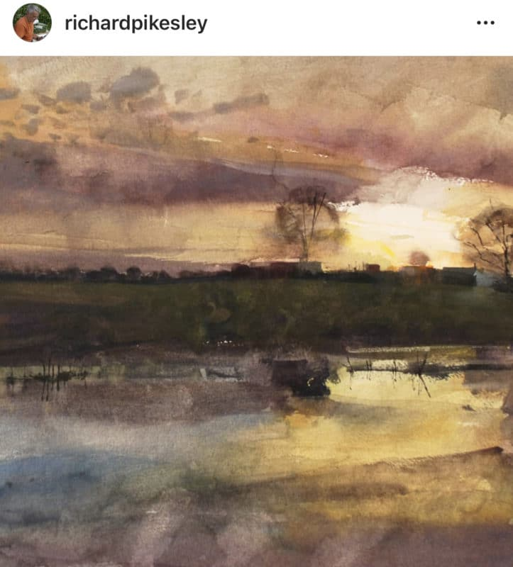 a beautiful, atmospheric watercolor landscape by UK painter Richard Pikesley