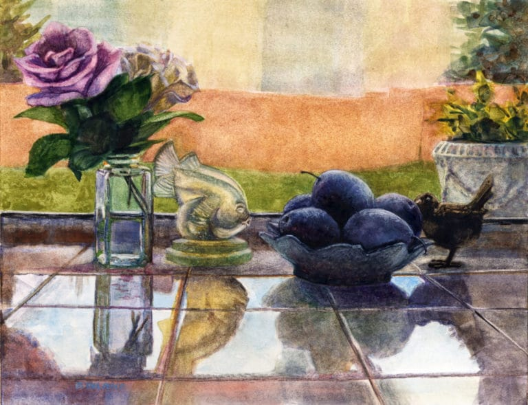 a still life in watercolor of roses in a bud vase and a bowl of plums on a windowsill reflected in kitchen counter tiles