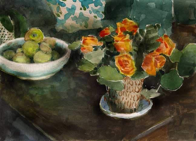a watercolor sketch of orange roses in a vase next to a white bowl of apples