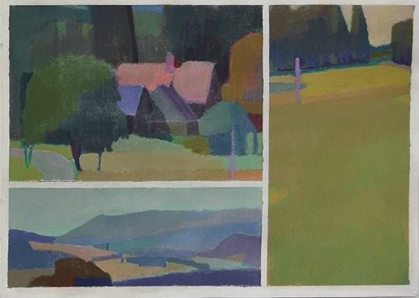 Color landscape studies in a sketchbook by Sainer