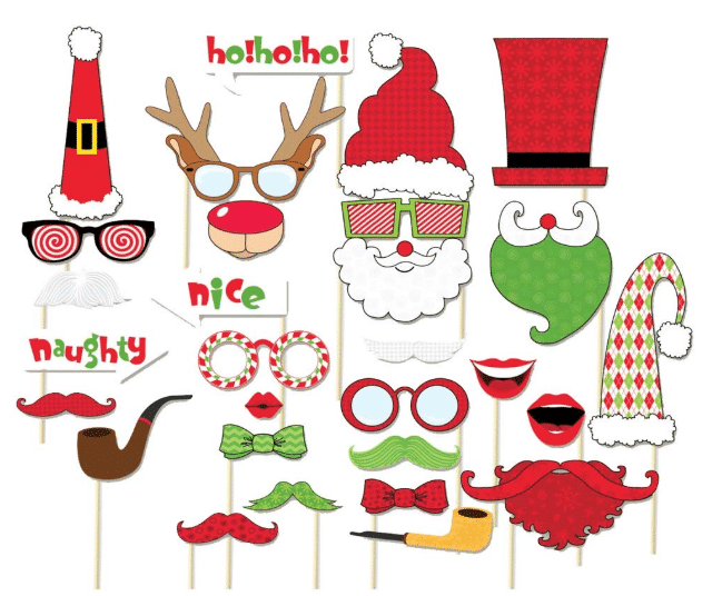 Flat, paper cut outs of Christmas themed masks on sticks so they can be helps near faces for photos or drawing. Hats, bow ties, beards, antlers, pipes and moustaches in Christmas colors
