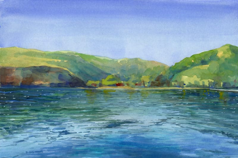 an island along a horizonline with water in the foreground painted in watercolor