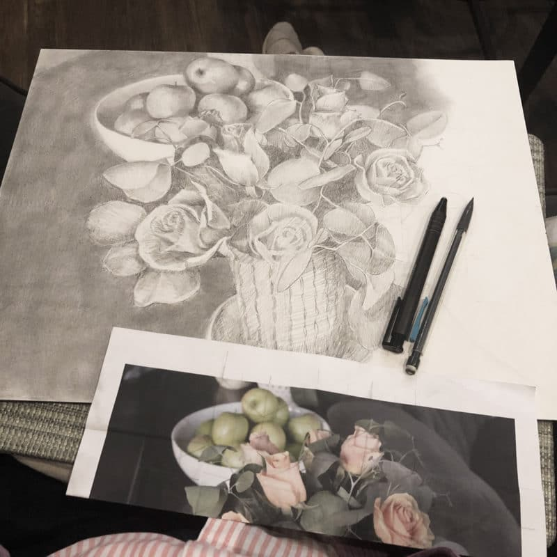shading a graphite drawing of roses and a bowl of apples